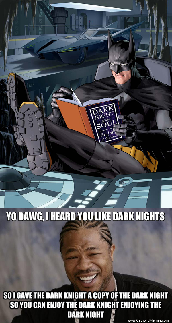 The dark knight reading a copy of the dark night of the soul on a dark night